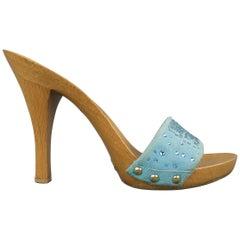 DOLCE & GABBANA Size 7 Blue Rhinestone Suede Wooden Platform Mule Sandals