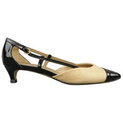MOSCHINO Size 7 Beige Woven Fabric & Black Patent Leather Pumps
