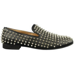Men's CHRISTIAN LOUBOUTIN Size 9.5 Black Rollerboy Spikes Leather Loafers