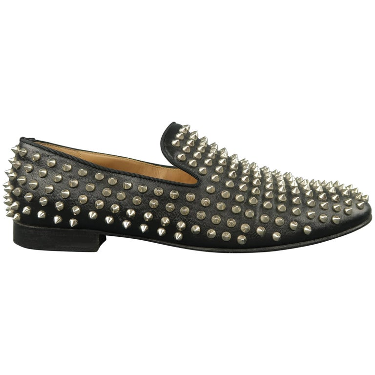 9f41bf5131a Men s CHRISTIAN LOUBOUTIN Size 9.5 Black Rollerboy Spikes Leather Loafers  For Sale