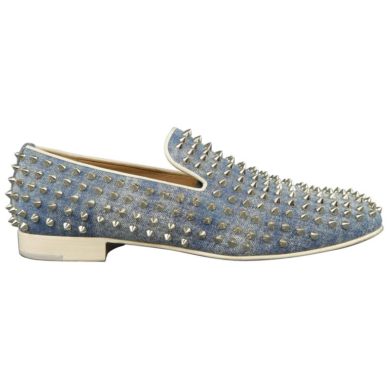 54d8e8505c8a Men s CHRISTIAN LOUBOUTIN Size 9.5 Blue Spiked Denim Rollerboy Spike Loafers  For Sale