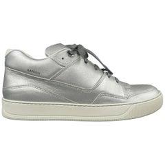Lanvin Men's Silver Leather Mid Sneakers