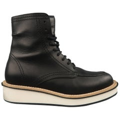 Givenchy Men's Black Leather White Platform Creeper Boots