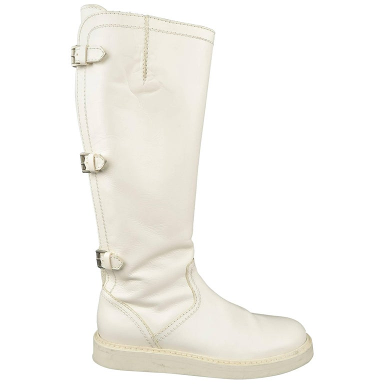 Ann Demeulemeester Men's White Leather Strap Back Knee High Boots For Sale