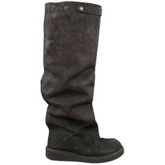 Rick Owens Men's Black Suede Knee High Slouchy Boots