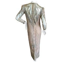 Bob Mackie Nieman Marcus Crystal Beaded Sheer Evening Dress, 1980s