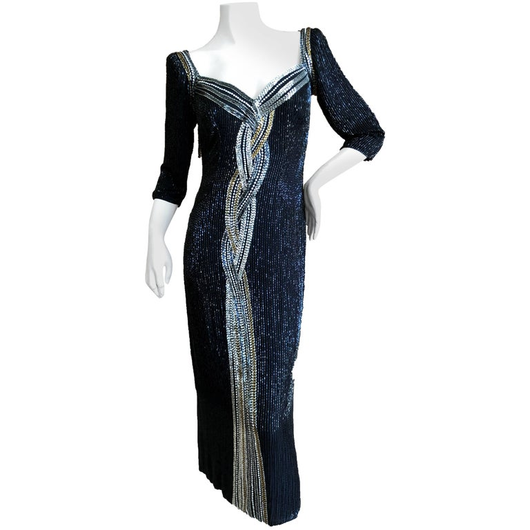 Bob Mackie Black Bugle Beaded Waterfall Evening Dress