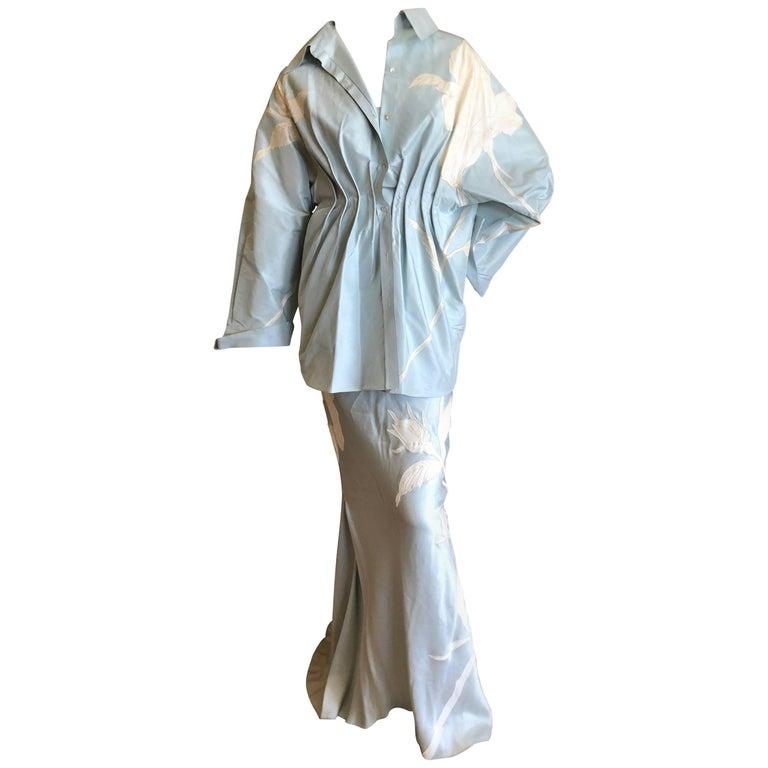 John Galliano Three Piece Full Length White Flower Applique Skirt Suit, 1990s