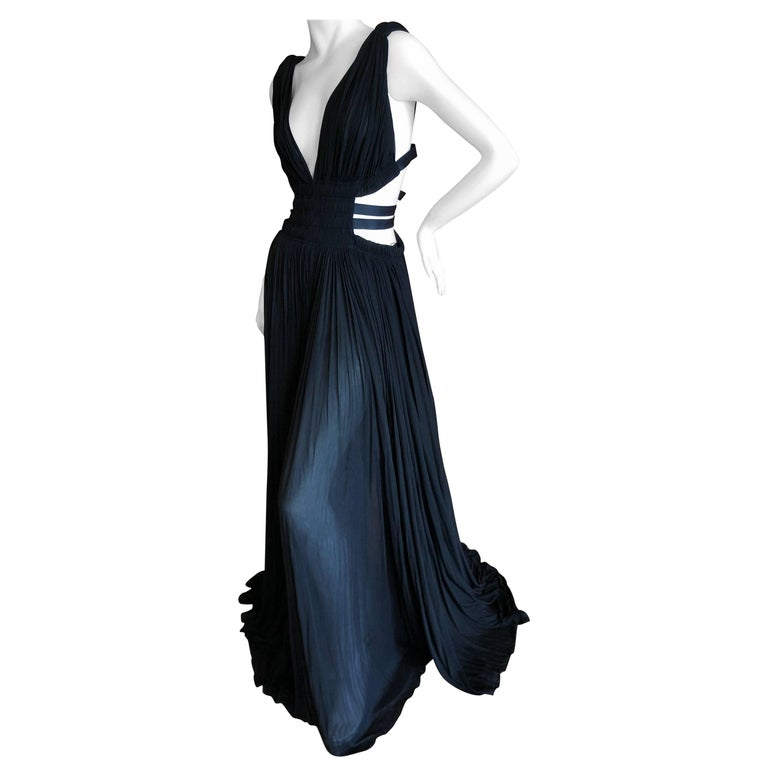 Azzedine Alaia Vintage Black Pleated Goddess Gown with Side Straps, Autumn 1991  For Sale