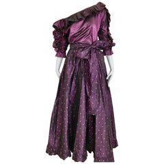 Saint Laurent Rive Gauche Purple Silk Blouse and Maxi Skirt Ensemble, 1990s