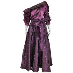 Saint Laurent Rive Gauche Purple Silk Blouse and Maxi Skirt Ensemble, 1990s