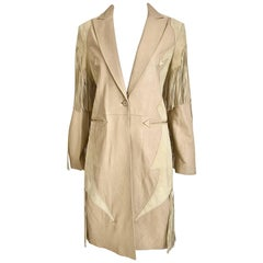 Versace Creme Suede Fringe Leather Coat, 1990s