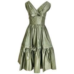 Christian Dior Grünes Seiden Cocktailkleid 1950er Jahre