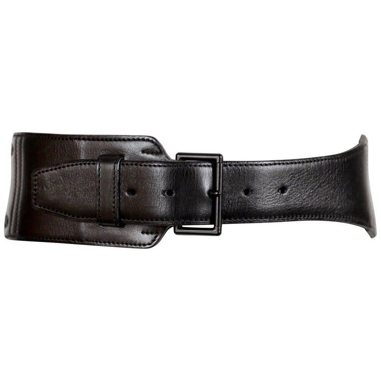 1990's AZZEDINE ALAIA asymmetrical black leather belt