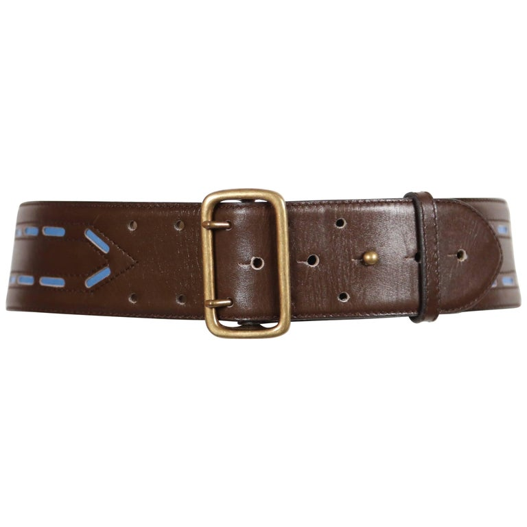 Azzedine Alaïa brown leather belt with blue accents, 1990s
