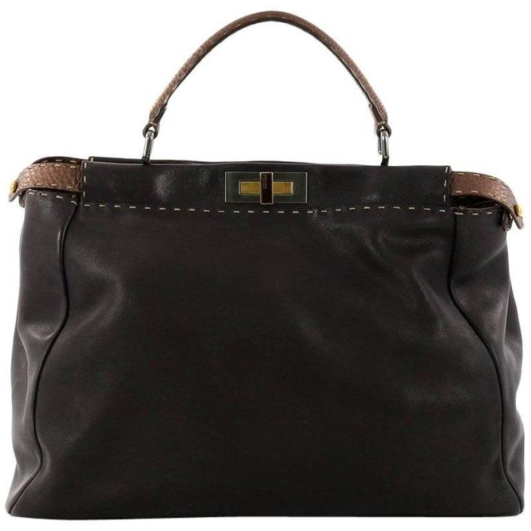 Fendi Bicolor Selleria Peekaboo Large Leather Handbag