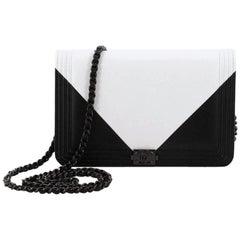 Chanel Bicolor Lambskin Boy Wallet On Chain