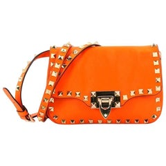 Valentino Rockstud Flip Lock Leather Mini Flap Bag