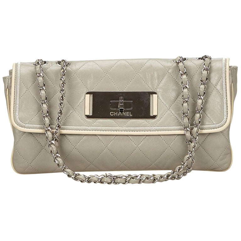 Chanel Gray Quilted Leather Flap Bag