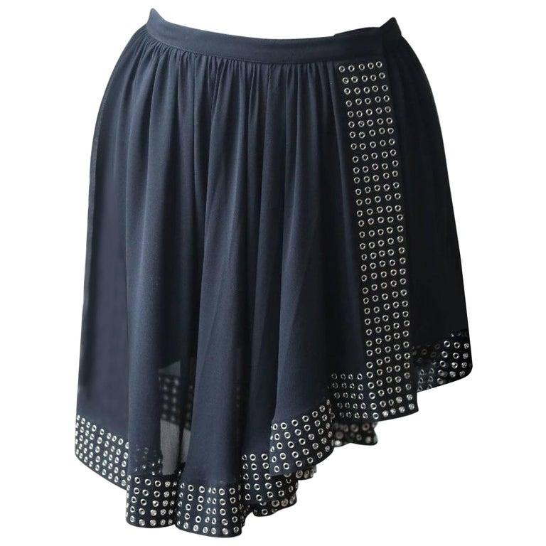 Azzedine Alaia Eyelet Asymmetrical Silk Skirt