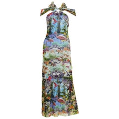 Jean Paul Gaultier Vintage Tropical Print Sheer Halter Dress