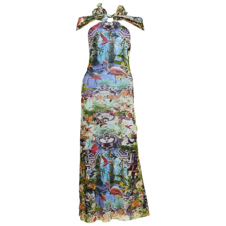 Jean Paul Gaultier Vintage Tropical Print Sheer Halter Dress For Sale 7f34928f4