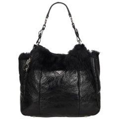 Prada Black Leather with Fur Shoulder Bag
