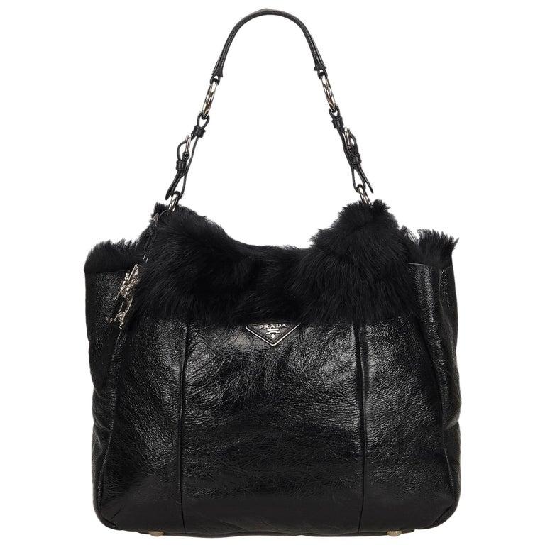Prada Black Leather with Fur Shoulder Bag For Sale at 1stdibs da6c2f68d37eb