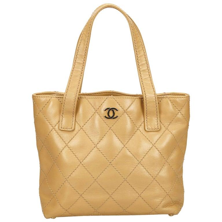 Chanel Beige Leather Surpique Handbag