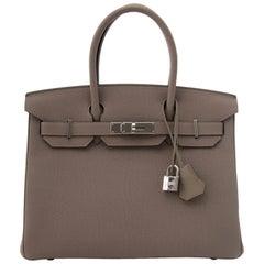 Hermès Togo Gris Asphalte Palladium Hardware Birkin 30 Bag