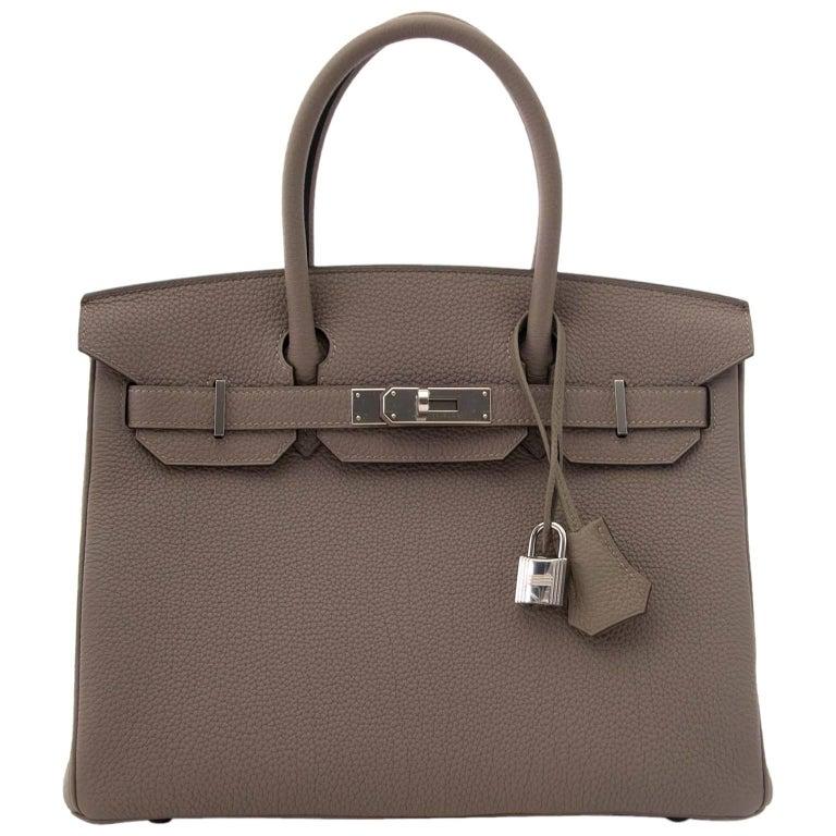 Hermès Togo Gris Asphalte Palladium Hardware Birkin 30 Bag For Sale