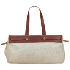 Hermes White x Brown Herbag Cabas MM