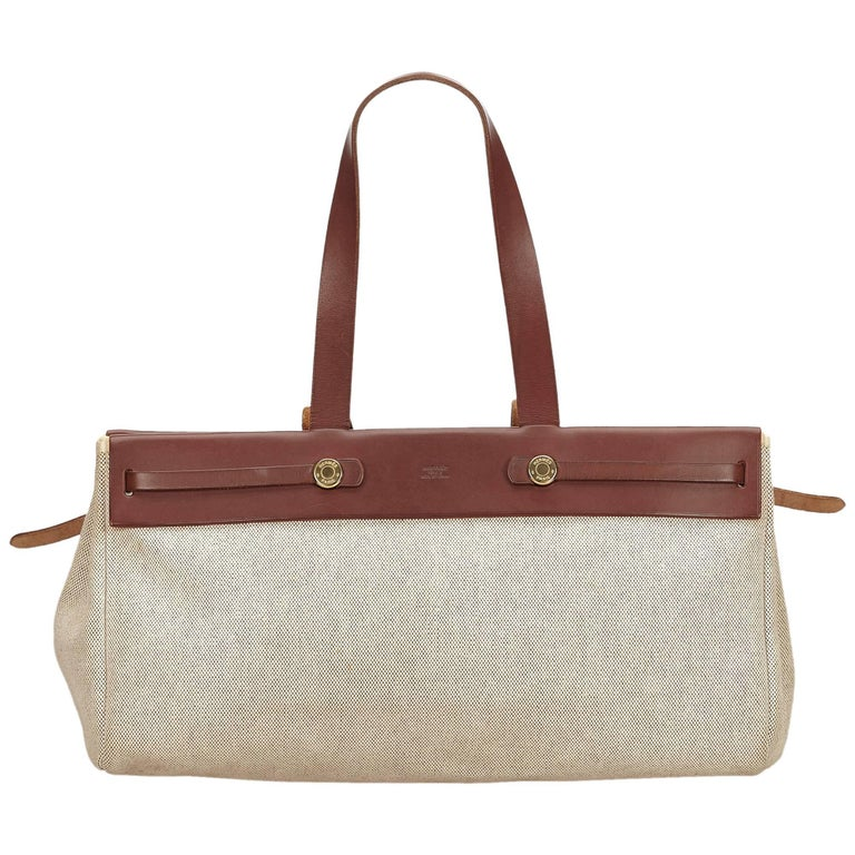 0d41fc97a Hermes White x Brown Herbag Cabas MM For Sale. The Herbag Cabas MM tote bag  features a canvas ...