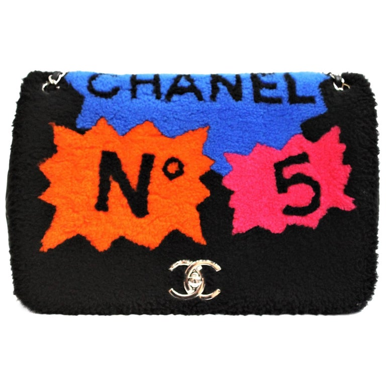 Chanel Shearling No. 5 Comic Silver Hardware Flap Bag, 2014 - 2015