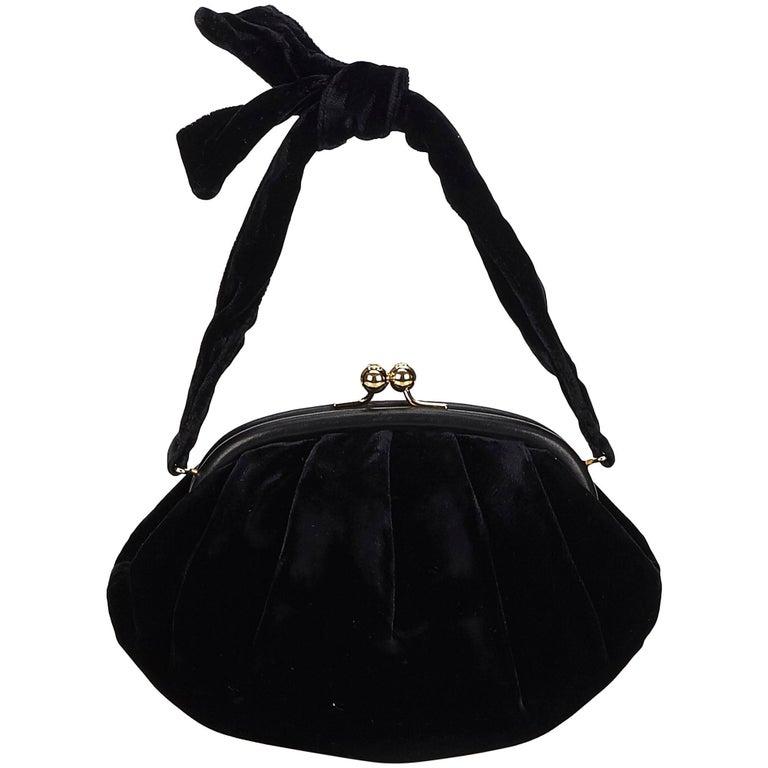 Chanel Black Velour Handbag For Sale