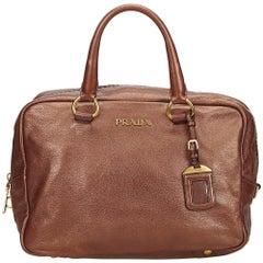 Prada Brown Vitello Daino Bauletto Bag
