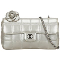 Chanel Silver Chocolate Bar Camellia Lambskin Leather Chain Bag