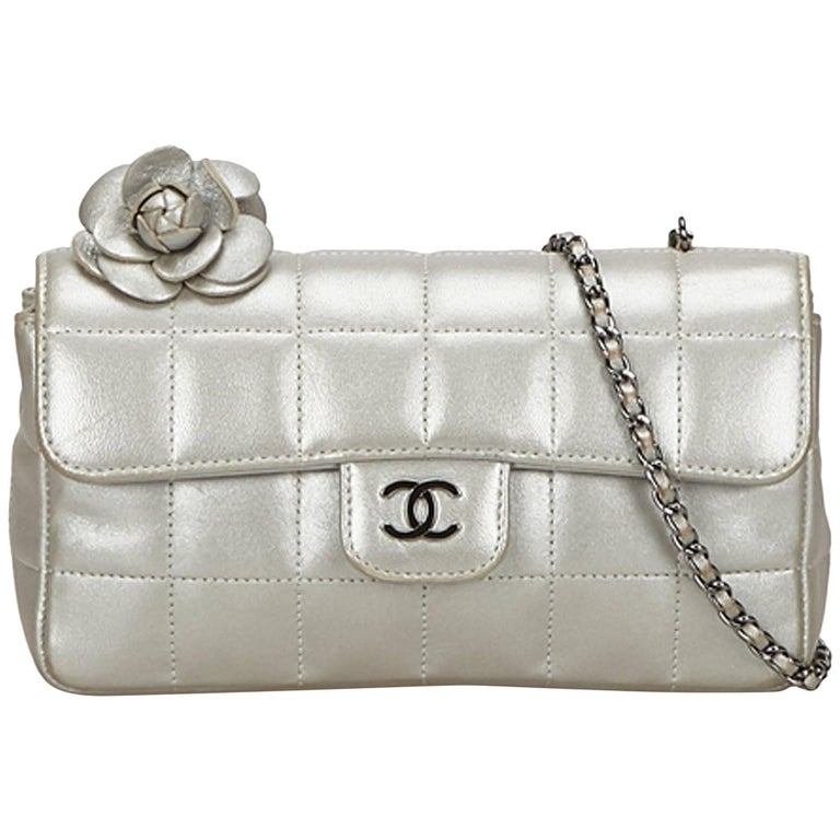 554173d02faa Chanel Silver Chocolate Bar Camellia Lambskin Leather Chain Bag For Sale