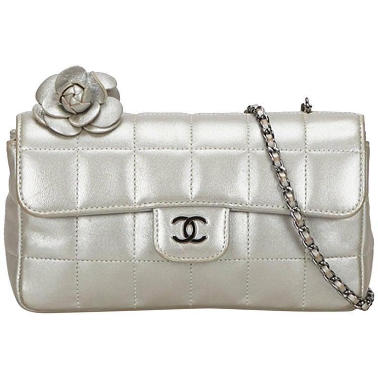 Chanel Silver Chocolate Bar Camellia Lambskin Leather Chain Bag