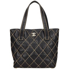 Chanel Black Surpique Leather Handbag