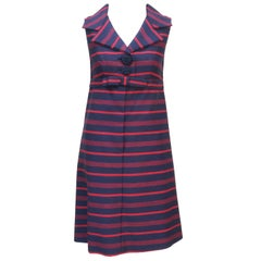 1960's Red & Blue Striped A-Line Dress