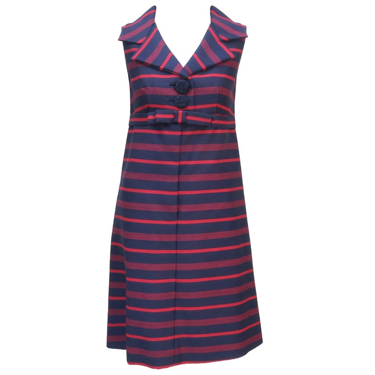 1960's Red & Blue Striped A-Line Dress For Sale