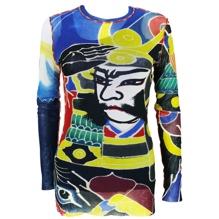 Jean Paul Gaultier Maille Vintage Japanese Tattoo Print Mesh Unisex Top