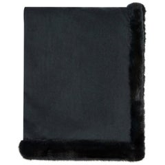 Verheyen London Limited Edition Cashmere Mink Fur Trimmed Black Teal Shawl