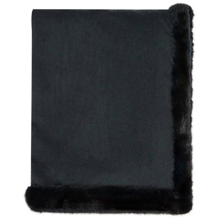 Verheyen London Limited Edition Cashmere Mink Fur Trimmed Black Teal Shawl
