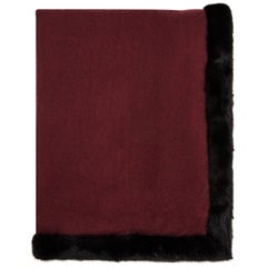 Verheyen London Limited Edition Mink Fur Trimmed Burgundy Cashmere Shawl