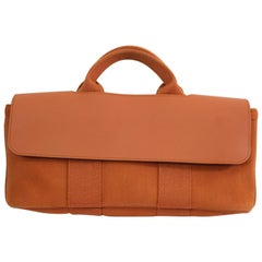 Hermes Mini Valparaiso Orange  Canvas and Leather Bag