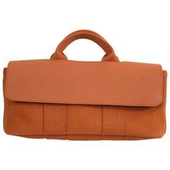 Hermes Mini Valparaiso Orangefarbener Canvas und Leder Tasche