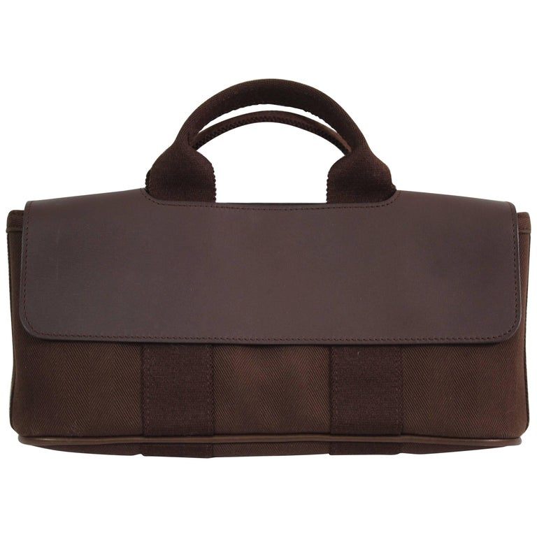 Hermes Mini Valparaiso Brown Canvas and Leather Bag