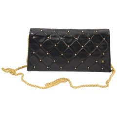 Chanel Black Quilted Lambskin Leather Wallet on Chain Crossbody Bag
